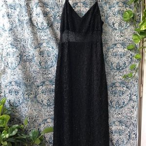 black floor length sequence and mesh dress